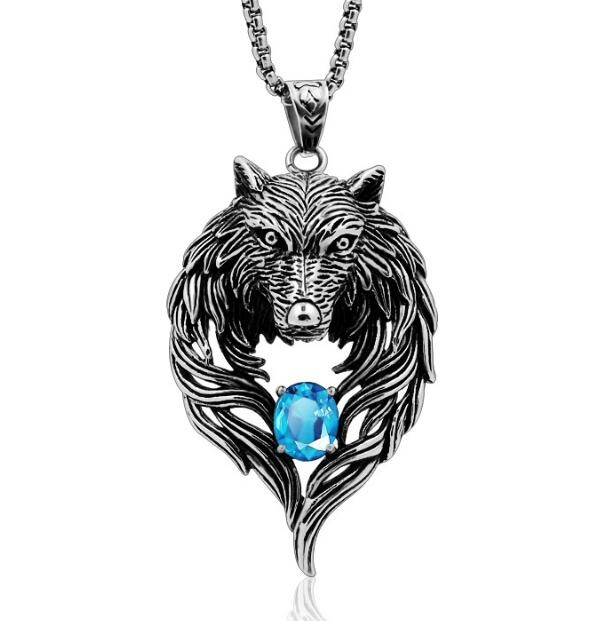 Vintage stainless steel Wolf Totem pendant with diamond for men