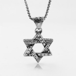 Vintage stainless steel  six pointed star pendant for men